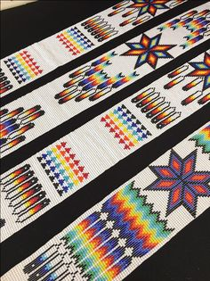 New! Beaded loom work strips finished in size 10/0 seed beads.