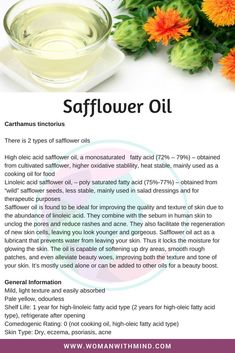 Safflower Oil General Information and Beauty DIY Essential Oil Perfume, Essential Oil Uses, Natural Health Remedies, Herbal Remedies, Natural Oils For Skin, Anti Aging, Healing Oils, Safflower Oil, Beauty Recipe