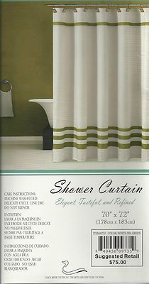 Luxury Fabric Shower Curtain Textured with Stripe Trim 70 x72 White Beige | eBay