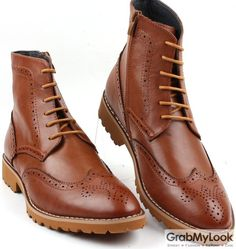 GrabMyLook Brown Leather Punk Rock Lace Up Ankle Thick Sole Military Style Mens Boots Shoes