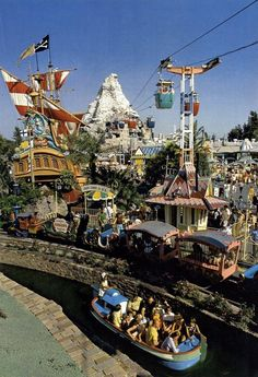 """The Pirate Ship still """"sailed"""" and the Skyway still soared in this vintage photo of Disneyland Walt Disney, Disney Rides, Disney Theme, Disney Fun, Disney Magic, Disney Stuff, Disneyland California, Vintage Disneyland, Disneyland Resort"""