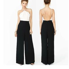 Open Back Cold Shoulder Chiffon Strap Color Block Splice Empire Pants Jumpsuit C in Clothes, Shoes & Accessories, Women's Clothing, Jumpsuits & Playsuits | eBay