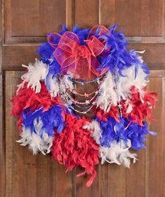 Fourth of July Feather Boa Wreath