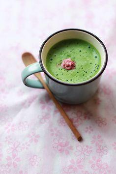 Japanese matcha latte with sakura