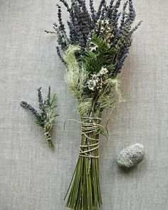 Natural Woodland Brides Wedding Bouquet and Grooms Boutonniere of French Lavender, Cedar, Lichens and Moss Tied with Natural Hemp Twine