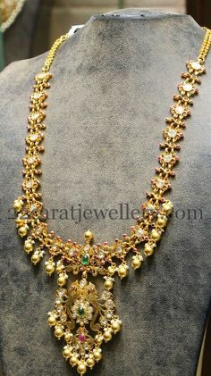Jewellery Designs: Filigree Work Latest Haram by Hiya