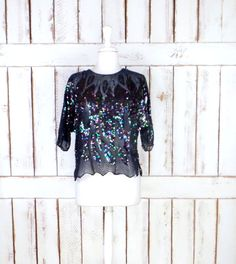 BOGO Sale Vintage sheer black iridescent beaded sequins short sleeve top/beaded evening formal blouse/cropped sequin top by GreenCanyonTradingCo on Etsy