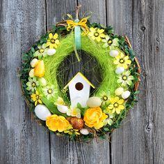 Wianek wielkanocny, wianek Wielkanoc, wianek na drzwi wiosna, wianek zielony, wianek domek, wianek tulipan, dekoracje Wielkanoc,