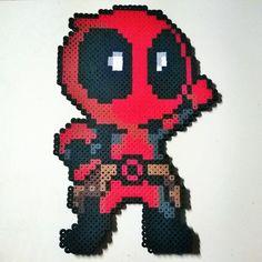Chibi Deadpool perler beads by pixelpinoy