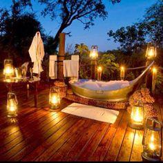 Bathtub - romantic candle lit outdoor sunset - dream bath tub