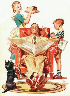 """jcleyendecker: """" vintageholidays: """" """"Father's Day"""" - cover art by J. Leyendecker from """"The American Weekly"""" magazine; June 1947 """" Happy father's day from JC Leyendecker! Images Vintage, Photo Vintage, Vintage Ads, Vintage Posters, Vintage Stuff, American Illustration, Art Et Illustration, Christmas Illustration, Jc Leyendecker"""