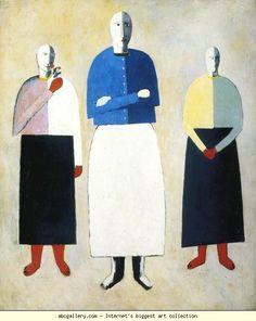 Kazimir Malevich. Three Girls. 1928-1932. Oil on plywood. 57 x 48 cm. The Russian Museum, St. Petersburg, Russia.
