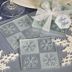 Wedding Gifts For Guests Winter wedding favors. Snowflake Glass Coasters (Set of – FREE Custom Tags - Snowflake coasters wedding favors. Add the sparkle of freshly fallen snow to your event tables with these lustrous snowflake coaster sets as your favors. Winter Wedding Receptions, Winter Wedding Favors, Beach Wedding Favors, Unique Wedding Favors, Unique Weddings, Wedding Gifts, Wedding Ideas, Winter Weddings, Wedding Inspiration