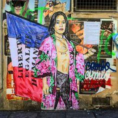Liberty, equality, humanity by @combo_ck #combock #france new era #streetart #graffiti #graff #spray #bombing #wall #sprayart #instagraff #urbanart #wallporn #pochoir #collage Bd du Temple #paris