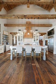 Kitchen Interior Rustic Kitchen Rustic Kitchen Gorgeous textures were added to this rustic kitchen with reclaimed wood floors, shiplap walls, reclaimed beams and reclaimed barn wood Texas Farmhouse, Farmhouse Interior, Home Interior, Interior Design Kitchen, Rustic Farmhouse, Pantry Interior, Cabin Interior Design, Farmhouse Design, House Kitchen Design