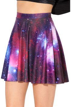 Galaxy Purple Skater Skirt - L