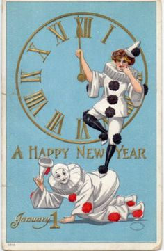 SLIGHTLY EMBOSSED HARLEQUIN NEW YEAR CLOWNS, CLOCK. 1908.