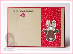 Stampin' Up! rosa Mädchen: Weihnachtskarte Rudolph mit LED und ausgestochen weihnachtlich
