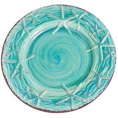 Set of 4 Tommy Bahama Crab 8-5//8-100/% Melamine Salad Plates