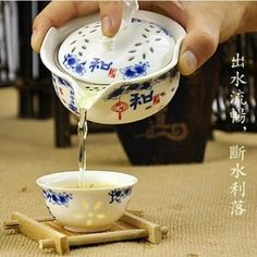 gaiwan Openwork Blue and white porcelain Ceramic tea sets Kung Fu Tea Celadon   Cup One pot and two cup portable Travel Set
