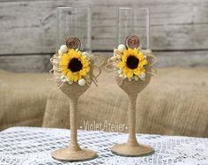 Sunflower toasting flutes with twine and burlap, rustic champagne sunflower glasses, bride and groom toasting glasses
