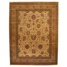 Herat Oriental Indo Hand-knotted Vegetable Dye Tabriz Ivory/ Gold Rug