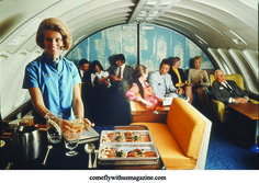 One of the wonderful features of 747s in the 1970s were the lounges, like this spacious beauty from British Airways..