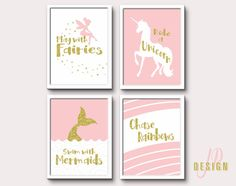 Pink Gold Whimsical art nurser wall art by JessicaPatelDesign