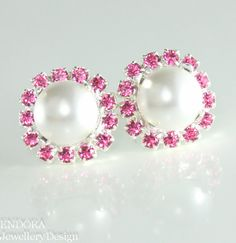 Pink and white pearl Swarovski crystal earrings #EndoraJewellery