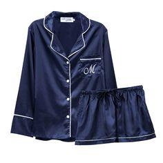 Personalized Pajamas, Tie Shorts, Cuff Sleeves, Satin Fabric, Pyjamas, Pajama Set, Navy And White, Adidas Jacket, Chic