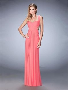 Sweetheart Open Back Beaded with Back Straps Chiffon Prom Dress PD12241