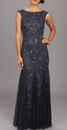 Adrianna Papell Cap Sleeve Beaded Gown. Beautiful for a recital.