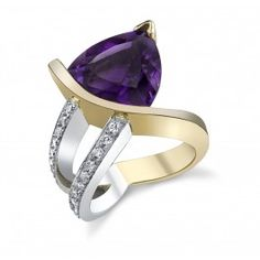 14K White & Yellow Gold Arizona Four Peaks Amethyst & Diamond Ring created by Sami Fine Jewelry.
