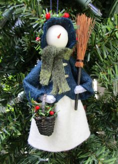 Dressed Warm Snowlady Christmas Ornament by ModerationCorner