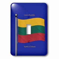 3dRose The flag of Lithuania on a blue background with Republic of Lithuania in English and Lithuanian, 2 Plug Outlet Cover