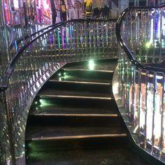 Mirrored stairwell inside the London, U.K. Victoria's Secret store. August, 2016.