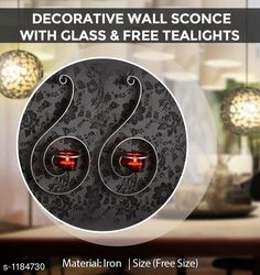 Candles & candle holders Decorative Wall Sconce Material: Iron Size: Free Size Description: It Has 2 Pieces Of  Decorative Wall Sconce with Red Glass and Free Tealights Country of Origin: India Sizes Available: Free Size   Catalog Rating: ★4.4 (1057)  Catalog Name: Home Decor Products Vol 7 CatalogID_148057 C127-SC1612 Code: 033-1184730-276