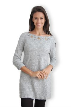 Gri Taş Yaka Kazak | Modelleri ve Uygun Fiyat Avantajıyla | Modabenle