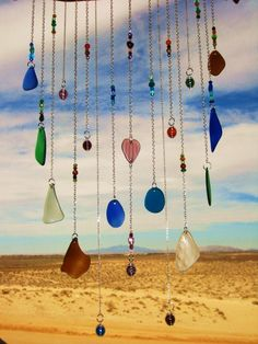 Beach Glass Chimes with Glass Heart by mexicobeachgirl on Etsy, $65.00