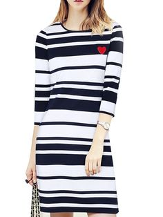 Chic Striped  Round Neck  Bodycon-dress Bodycon Dresses from fashionmia.com
