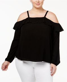 f3dcbc3e271 American Rag Trendy Plus Size Ruffled Off-The-Shoulder Top