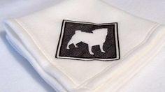 Embroidery Pug silhouette Handmade White Fleece Pet Blanket | KallieJosCottonPatch - Pets on ArtFire