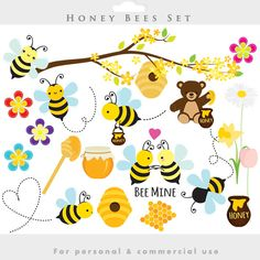 Bees clipart - honey bees clip art, spring bumblebees whimsical flowers springtime, honey clipart for personal and commercial use Bee Rocks, Bee Drawing, Buzz Bee, Set Honey, Bee Party, Clip Art, Vector Clipart, Bees Knees, Bee Keeping