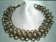 Vintage Goldette Gold Faux Pearl Bead Intertwined Centipede Chain Link Bracelet  #Goldette #Chain