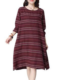 Vintage Women Long Sleeve Stripe O Neck Cotton Loose Dresses
