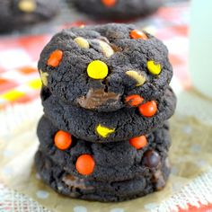 Chocolate cookies loaded with peanut butter cups and Reese's Pieces
