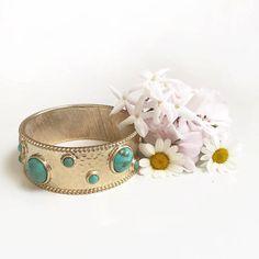 Barefoot Bangle.  A beautiful 14k gold plated bangle with embellished turquoise or Ivory gems.
