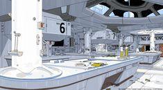 Spaceship Interior, Futuristic Interior, Spaceship Design, Futuristic Art, Sci Fi Environment, Environment Design, Bg Design, Alien Isolation, Concept Architecture