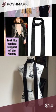 "Long satin scarf Dress up,your wardrobe with this hot trend extra long satin scarf     75"" in length and 2 1/4width Accessories Scarves & Wraps"