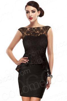 Modern Sheath-Column Bateau Short-Mini Lace Black Backless Little Black Dress with Peplum COVM1400C